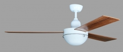Ceiling fan ASANALIGHT white/teak